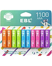 EBL Rechargeable AAA Batteries 1.2V NiMH Pre-Charged Triple A Battery 1100mAh New Retail Package - 10 Count