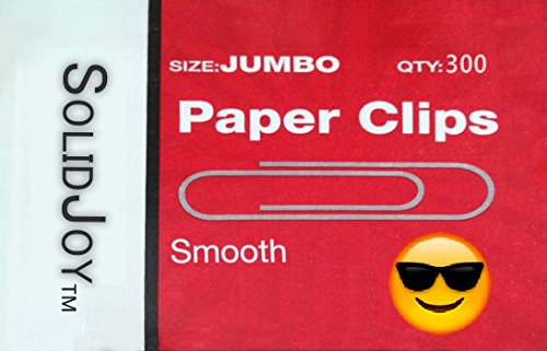 300 Jumbo Paper Clips by SolidJoy (Smooth, Silver Finish; Approx 2 inches long)
