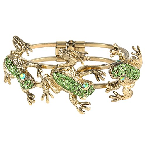 (EVER FAITH Women's Austrian Crystal Vintage Inspired 3 Frogs Bangle Bracelet Green Antique Gold-Tone )