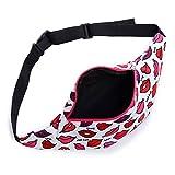 3D printed lips waist bags 2 zipper pockets fanny packs for women fashion girls bag