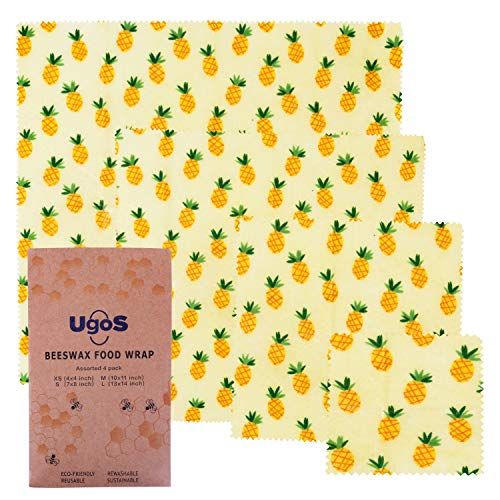 UGOS Organic Beeswax Food Wraps - Reusable Bees Wax Paper Wrap, Assorted 4 Pack (Pineapples)
