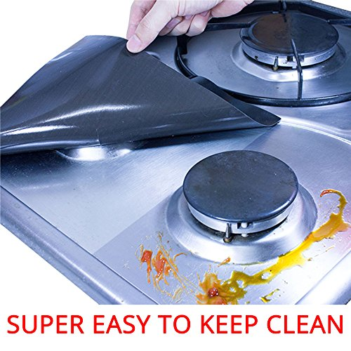 TadaChef Stove Burner Covers Protectors - Easy Way to Keep StoveTop Clean / Thickness No.1 / Set of 4 / Black