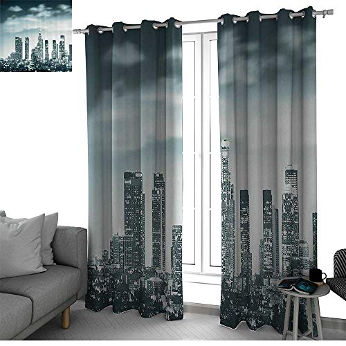Night Decor Best Home Fashion Wide Width Thermal Insulated Blackout Curtain Urban Theme Los Angeles Skyline at Night Skyscrapers and Lights Digital Art Print Curtain Holdback Teal W108 x L84 Inch ()