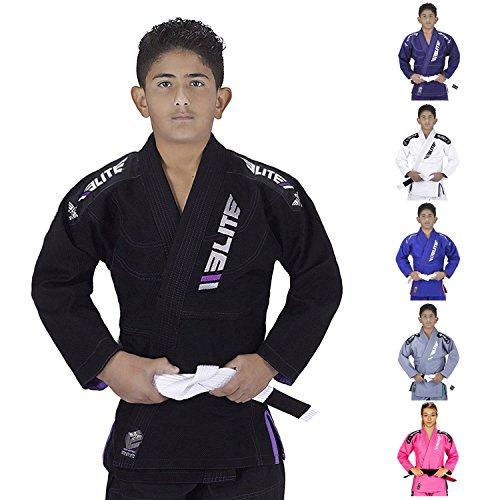Elite Sports Ultra Light Brazilian Jiu Jitsu Gi for Kids with Preshrunk Fabric and Free Belt, Black