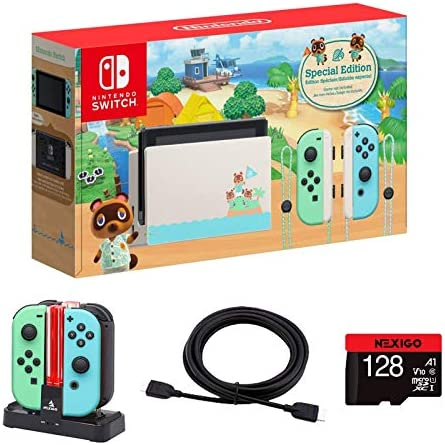 Nintendo 2020 Switch Console Family Christmas Holiday Bundle - Animal Crossing: New Horizons Edition + NexiGo_128GB MicroSD Card + 4K HDMI Cable + Joy-Con and Pro Controllers Charging Dock Bundle