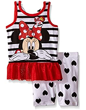 Girls' 2 Piece Minnie Mouse Stripe To Heart Print Bike Short Set