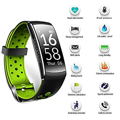 Fitness Tracker with Heart Rate Blood Pressure Monitor, IP68 Waterproof Activity Tracker with Sleep Monitor Calorie/Step Counter for iPhone Samsung Nexus LG (Green)