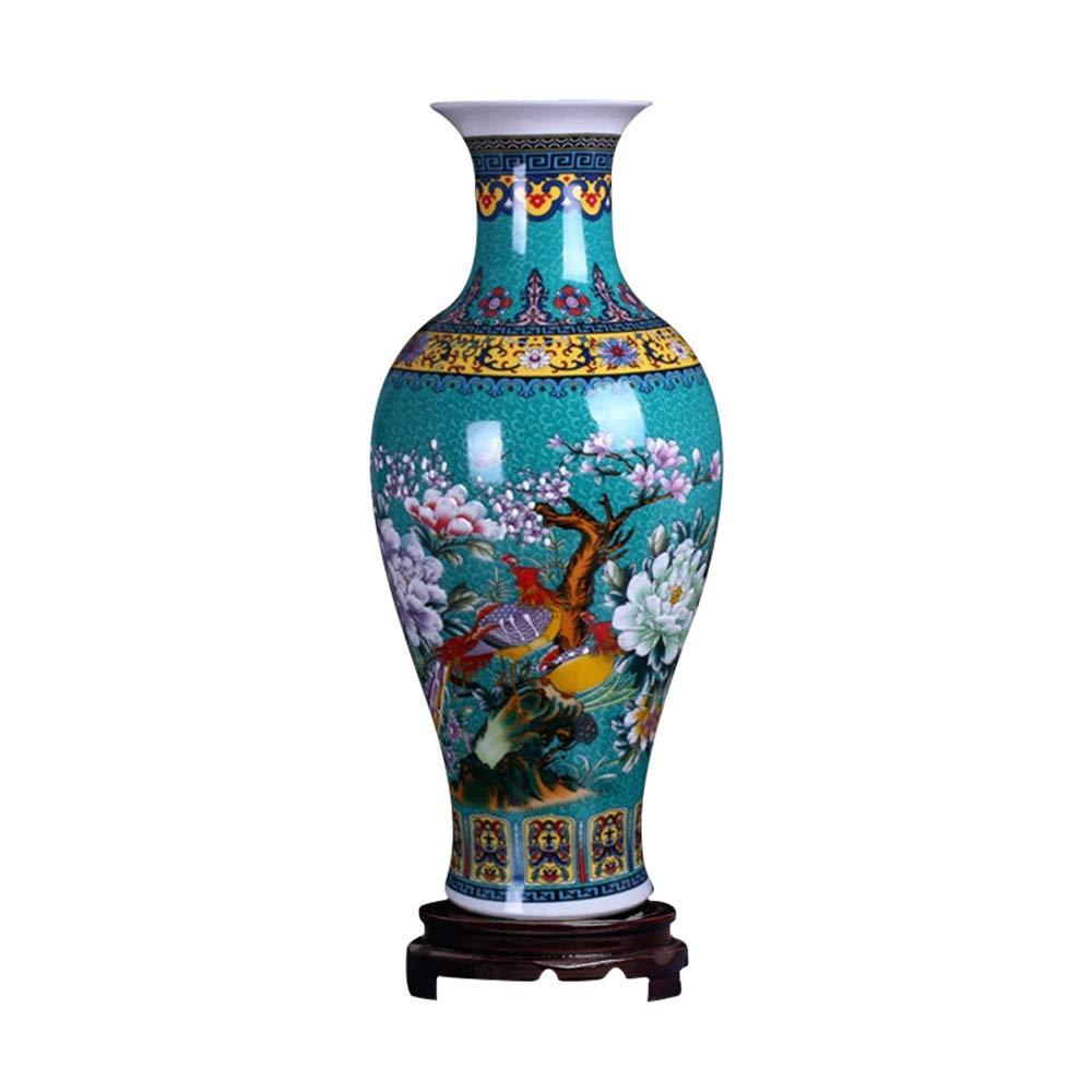 """ufengke Jingdezhen Large Fishtail Ceramic Floor Vase,Flower Vase Handmade Home Decorative Vase,Height 18.11""""(46cm),Blue"""