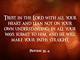 Proverbs 3:5-6 Poster Religious Poster Spiritual Poster Bible Verse Poster (24×36)