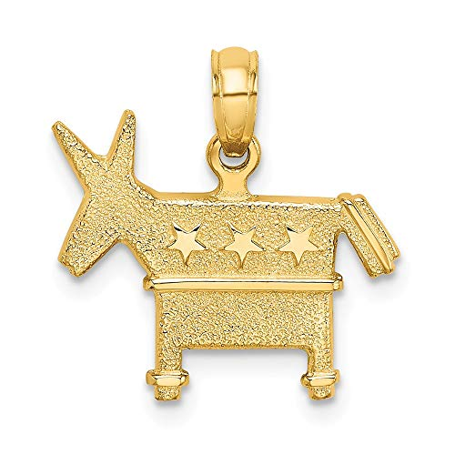 - 14k Yellow Gold 3-D Textured & Democratic Donkey Charm