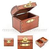 Odoria 1:12 Miniature Vintage Wooden Brown Treasure Chest Dollhouse Decoration Accessories