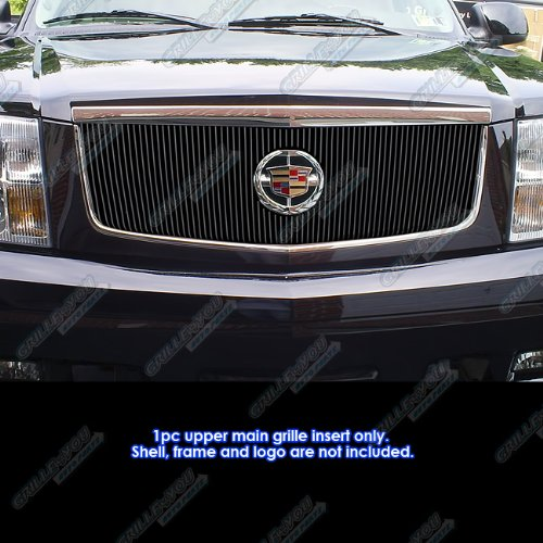Cadillac Escalade Billet Grill (APS 2002-2006 Cadillac Escalade With Logo Show Vertical Black Billet Grille Grill Insert #S18-E07756A)