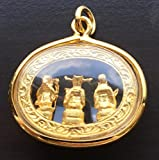 Hok Lok Siu (Fu Lu Shou) 3 Lucky God Good Luck Richness Longevity Happiness, Thai Pendant Necklace,Thai Amulets Hanger, Thai Buddhist Pendant, Good Luck and Protection, Success Win All Obstacles