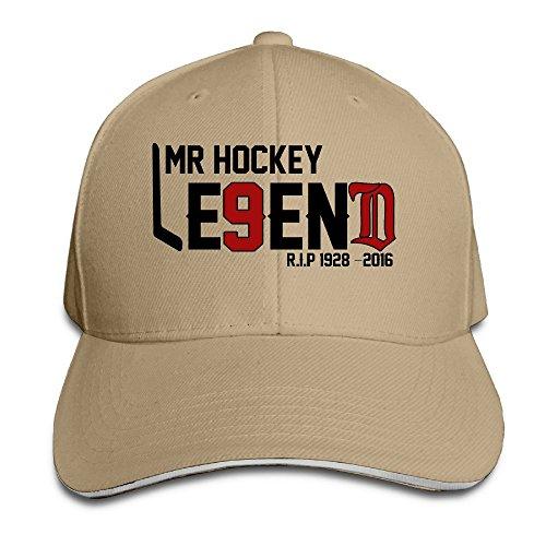 BOoottty R.I.P Hockeytown Hockey Legend #9 Mr.Hockey Flex Baseball Cap Natural