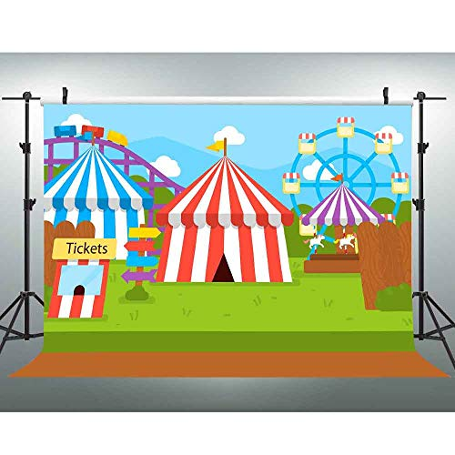 VVM 10x7ft Amusement Park Backdrop Circus Carrousel Photo Booth Background Cartoon Kids Themed Party Decoration LXVV552 -