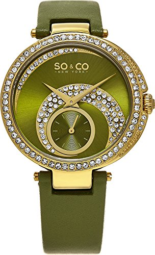 Amazon Lightning Deal 60% claimed: SO & CO New York Women's 5272.3 SoHo Crystal Accented Green Leather Strap Watch