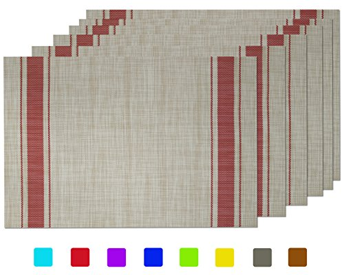 Tennove Placemats Set of 6, Woven Vinyl Placemats Washable PVC Table Mats for Home, Kitchen (E1)