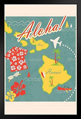 Aloha Retro Hawaiian Vintage Travel Art Print Framed Poster by ProFrames
