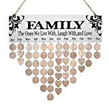 [Mom Birthday Gifts] Family Birthday Wall Hanging Calendar,Wooden Birthday Reminder Plaque Sign Family