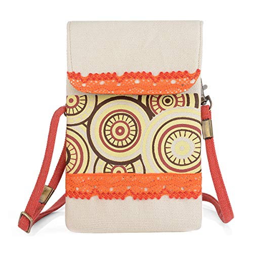 Women Bohemia Printed Cute Small Cell Phone Bag Crossbody Purse Wallet Bag with Shoulder Strap Messenger Pouch Phone Waist Bag Pack (Creamy white) (Messenger Bag Cell Phone Pouch)