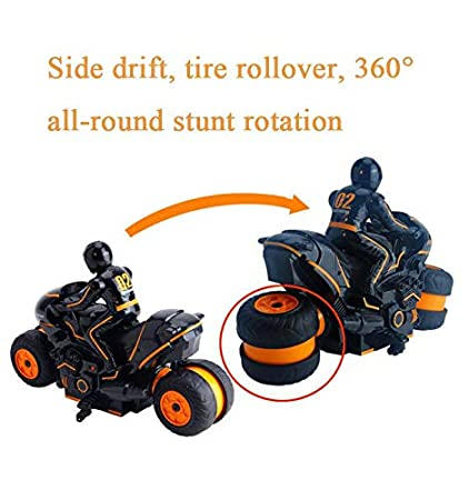 Drift Stunt Car Motorbike for Kids Age 4,5,6,7,8 and Up Year Old Womdee 2.4G 360 Degree Spinning Action Rotating Drift Stunt Motorbike High Speed RC Motorbikes Remote Control Stunt Motorcycle