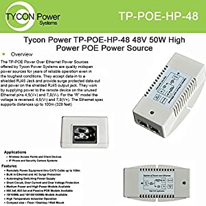 Tycon Systems, Inc 48v - 56v 50w - Poe Power Inserter - TP-POE-HP-48