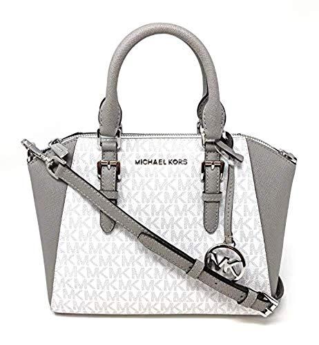Michael Kors Ciara Medium Saffiano Leather Messenger Bag Bright White