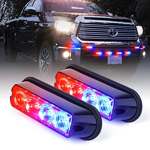 Xprite Red & Blue 4 LED 4 Watt Emergency Vehicle Waterproof Surface Mount Deck Dash Grille Strobe Light Warning Police Light Head with Clear Lens - 2 Pieces