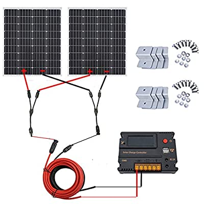 ECO-WORTHY 200 Watt (2pcs 100 Watt) 12V/24V Monocrystalline Solar Panel Kit + 20A Battery Charge Controller + Solar Cable + Z Brackets