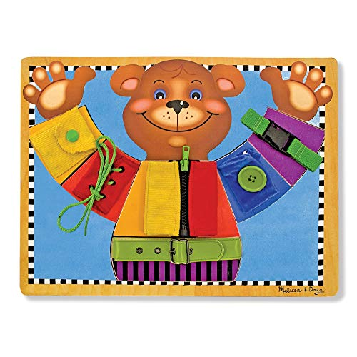 Melissa & Doug Basic Skills Board (Developmental Toys, 6 Removable Pieces & Puzzle Board, Practice Fine Motor Skills)]()