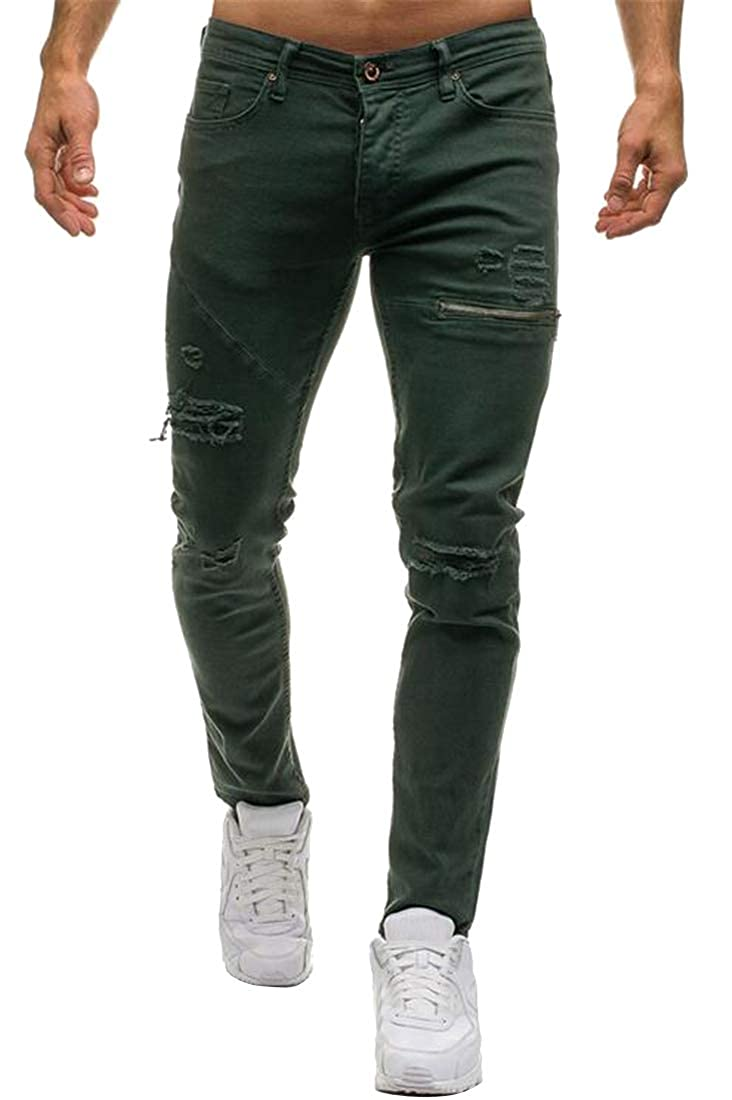Fensajomon Men with Zip Deco Ripped Stretch Slim Fit Distressed Denim Jeans Pants