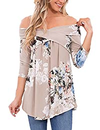 Assivia Womens Off Shoulder T-Shirts Floral 3/4 Sleeve Casual Loose Blouses Tops