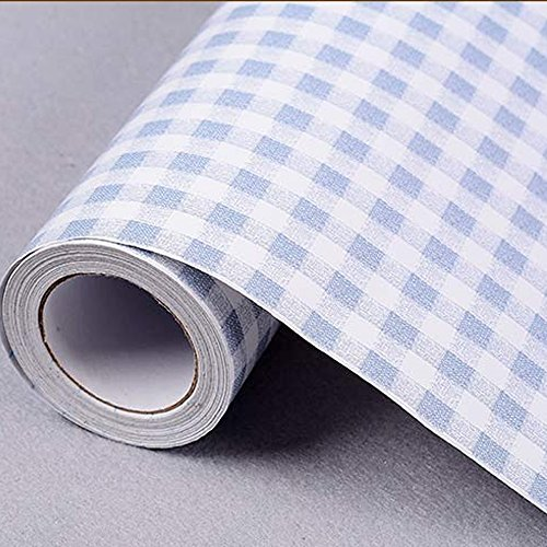 Review SimpleLife4U Blue & White Checkered Pattern Contact Paper Self-Adhesive Shelf By SimpleLife4U by SimpleLife4U