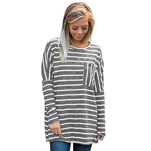 LEXUPA Women Long Sleeve Stripe Sweatshirt Pullover Tops Blouse Shirt Spring and summer tops(Gray,X-Large)