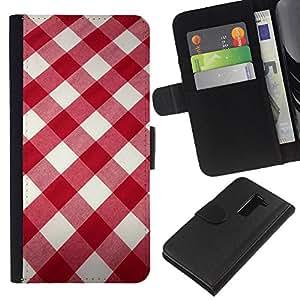 KLONGSHOP // Tirón de la caja Cartera de cuero con ranuras para tarjetas - Blanco modelo de la tela roja - LG G2 D800 //