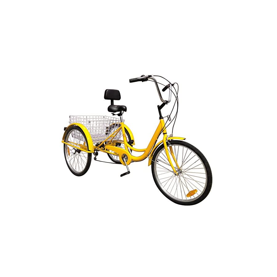 "Ridgeyard 24"" 6 Speed 3 Wheel Adult Cycling Pedal Tricycle Bicycle Trike Bike with Shopping Basket Yellow"