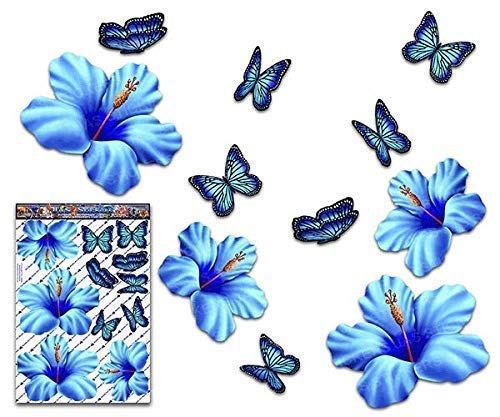 JAS Stickers® HIBISCUS FLOWER/BUTTERFLY CAR DECALS - Blue - Large Tropical/Animal Vinyl Stickers Pack For Laptop Caravans Trucks & Boats - ST00023BL_3