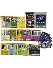 Pok Pokémon 50 Pokémon kaarten zonder dubbele kaarten + 1 willekeurige Pokémon Booster + 2 glanzende cadeaukaarten + 1 zeldzame kaarten + 100 Heartforcards® Card Guard Sleeves