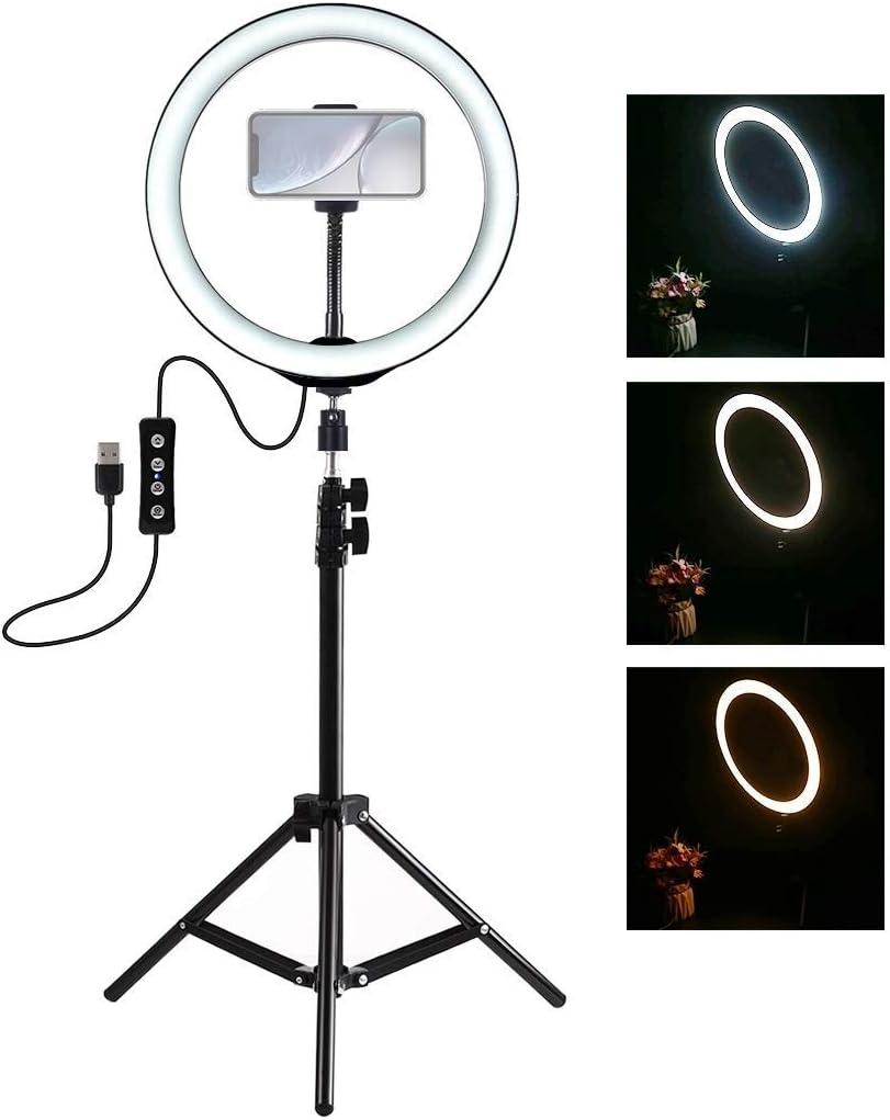 por las fotos al aire libre Luz 1yess Soporte de c/ámara 1,1 m Montaje de tr/ípode Varilla de extensi/ón de 10 pulgadas 16cm aro de luz LED y port/átil de dise/ño adecuado