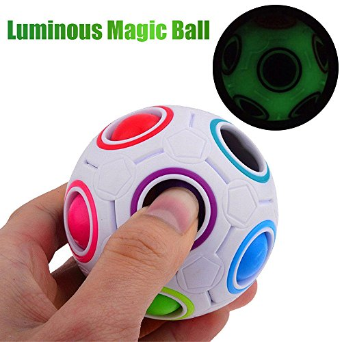 - Jonerytime Luminous Stress Reliever Magic Rainbow Ball Fun Cube Fidget Puzzle Education Toy for Kids/Adults