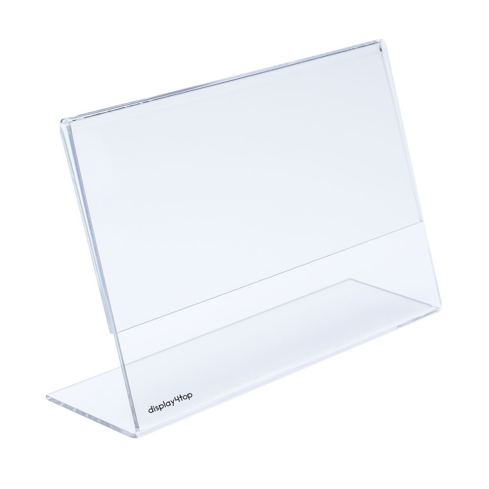 6 Pack-2mm Display4top 6 Pack 11 x 8.5 Inches Displays Clear Acrylic Slanted Sign Holders Landscape Ad Frame