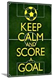 AllPosters Keep Calm and Score a Goal Soccer Stretched Canvas Print, 54 x 36 in