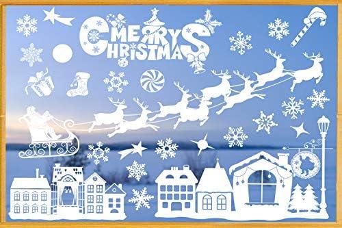 Vetrofanie Natalizie, Natale Decorazioni Adesivi Adesivi Natale Rimovibile Adesivi Murali Fai da te Finestra Sticke (Bianca4)