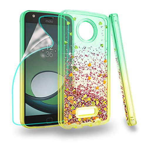 Zingcon Suit for Moto Z Play Case,Motorola Z Force/Play Droid Phone Case, with Quicksand Bling Adorable Shine,[HD Screen Protector] Shockproof Hybrid Hard PC Soft TPU Protective Cover-Green/Orange