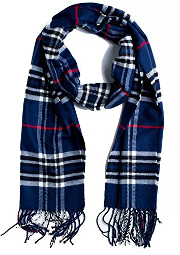 Zando Womens Plaid Checked Tartan Scarf Soft Warm Cashmere Feel Large Wrap Shawl Sapphire Blue