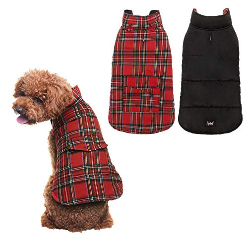 - PUPTECK Reversible Dog Winter Clothes Waterproof Cold Weather Coat Black & Red Small
