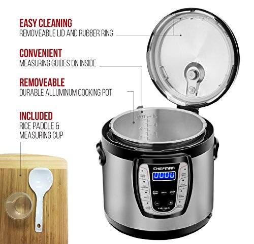 Chefman 2.5 Qt. Electric Multicooker, 9-in-1 Programmable Pressure Cooker, Prepare Dishes in an Instant, Aluminum Pot Multifunctional Slow Cooker, Rice Cooker/Steamer, Sauté, Soup Maker