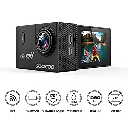 """Wifi Action Camera, Soocoo Waterproof Action Camera 12mp Full Hd 1080p - 2.0"""" Lcd Screen, 170 Wide Angle Lens, 30m98ft Underwater Diving Camera With 2 Batteries - Black (Memory Card Not Included)"""