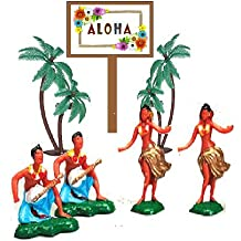 Hawaiian Island Dancers & Musicians Hula Miniature Luau Cake Cupcake Toppers with Palm Trees