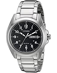Citizen Mens Eco-Drive Stainless Steel Watch with Day/Date, AW0050-82E